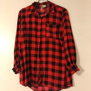 Tops - Black and red plaid shirt